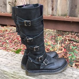 RARE Dr Martens Phina Black Moto Buckle Boots